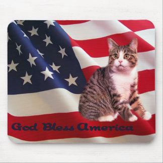 Dios de Mousepad del gato bendice América Alfombrilla De Ratones