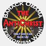 Dios de Obama del AntiChrist Etiquetas Redondas