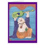 Dios de risa de la guitarra tarjeta de felicitación