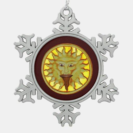 Dios de The Sun (Ra) Adorno De Peltre En Forma De Copo De Nieve