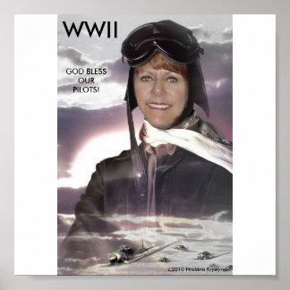 DIOS DE WWII BENDICE A NUESTROS PILOTOS: ¡PILOTO D POSTERS