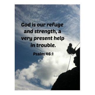 Dios del 46:1 del salmo es nuestro refugio y fuerz tarjeta postal