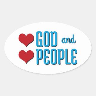 Dios del amor y gente del amor pegatina ovalada