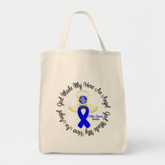 Dios del cáncer de colon hizo mi héroe un ángel bolsa lienzo