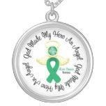 Dios del cáncer de hígado hizo mi héroe un ángel colgante personalizado