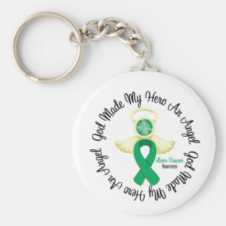 Dios del cáncer de hígado hizo mi héroe un ángel llavero
