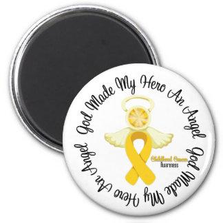 Dios del cáncer de la niñez hizo mi héroe un ángel imán redondo 5 cm