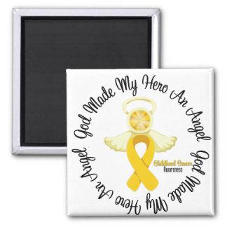 Dios del cáncer de la niñez hizo mi héroe un ángel imán cuadrado