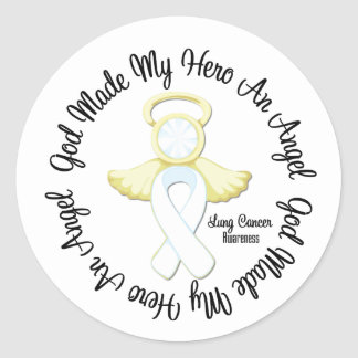 Dios del cáncer de pulmón hizo mi héroe un ángel pegatina redonda