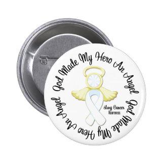 Dios del cáncer de pulmón hizo mi héroe un ángel pin redondo de 2 pulgadas