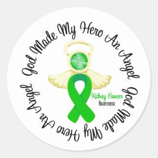 Dios del cáncer del riñón hizo mi héroe un ángel pegatina redonda