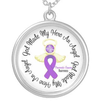Dios del cáncer pancreático hizo mi héroe un ángel colgante redondo