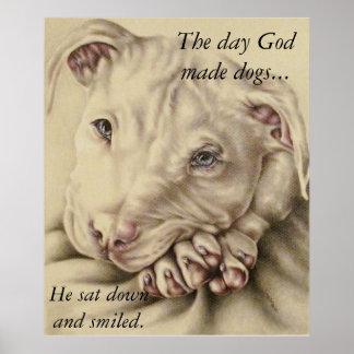 Dios del día hizo perros: Poster del pitbull