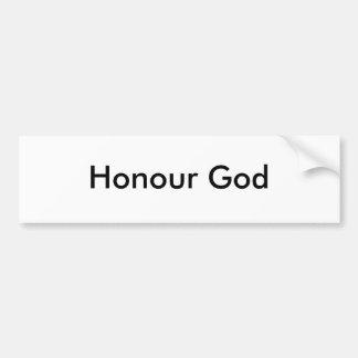 Dios del honor pegatina para auto