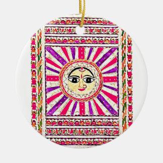 Dios del sol hindú de Surya Adorno Navideño Redondo De Cerámica