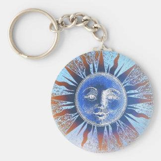 Dios del sol Sun hace frente a los regalos Llavero Redondo Tipo Pin