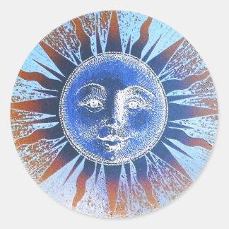 Dios del sol Sun hace frente a los regalos Pegatina Redonda