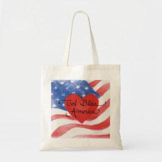 Dios del tote bendice la bandera de América Bolsa Tela Barata