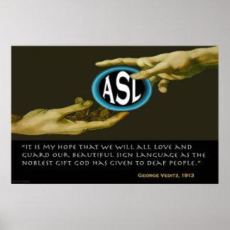 """Dios dio el ASL a la gente sorda (36"""" x24"""") Poster"""