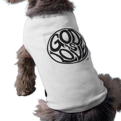 Dios es amor camisetas de perro