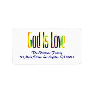 Dios es amor etiquetas de dirección