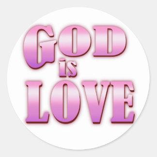 dios es amor pegatina redonda