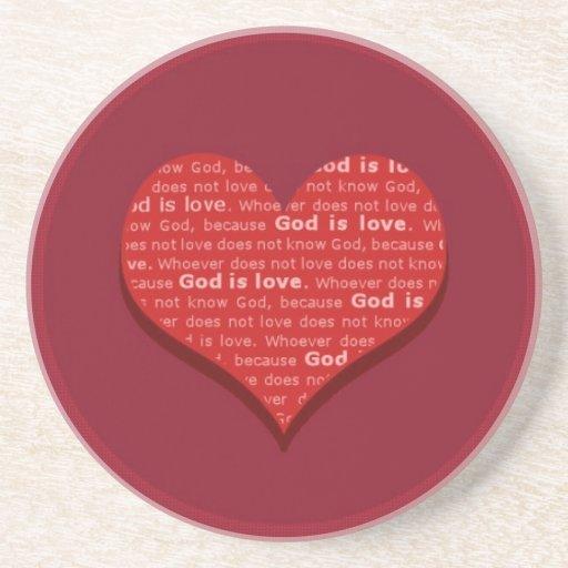 Dios es amor posavaso para bebida