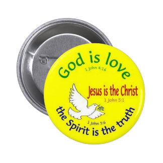 Dios es botón del amor pin redondo de 2 pulgadas