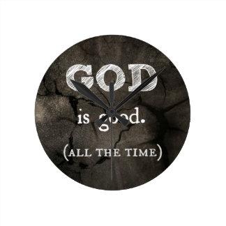 Dios es buen… todo el tiempo cristiano de encargo reloj redondo mediano