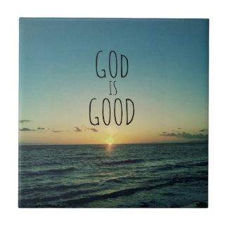 Dios es buena cita tejas  cerámicas