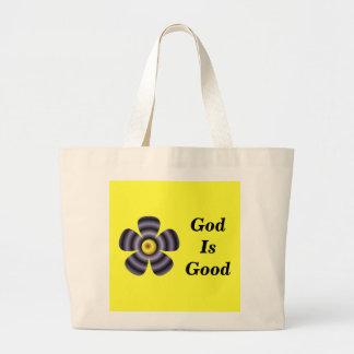Dios es bueno bolsa tela grande