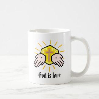 Dios es camiseta del amor taza de café