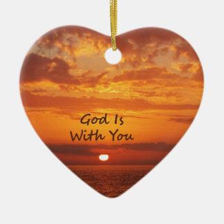 Dios es con usted puesta del sol anaranjada ornamentos para reyes magos