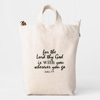 Dios es con usted verso de la biblia de Joshua Bolsa De Lona Duck