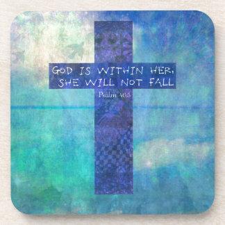 Dios es dentro de ella 46:5 del salmo del verso de posavasos de bebidas