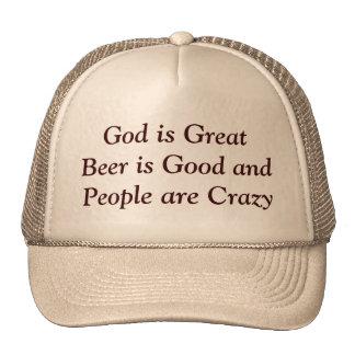 Dios es gran cerveza es bueno y la gente está loca gorros
