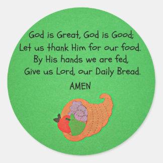Dios es grande, dios es bueno… etiqueta redonda