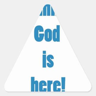 Dios es hee pegatina triangular