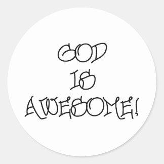 Dios es impresionante etiquetas redondas
