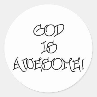 Dios es impresionante pegatina redonda