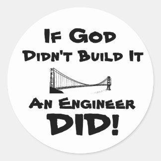 ¡Dios es ingeniero! Pegatina Redonda