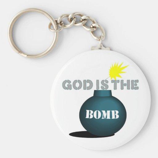 Dios es la bomba llavero