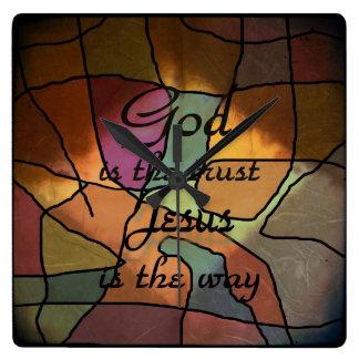 Dios es la confianza reloj cuadrado