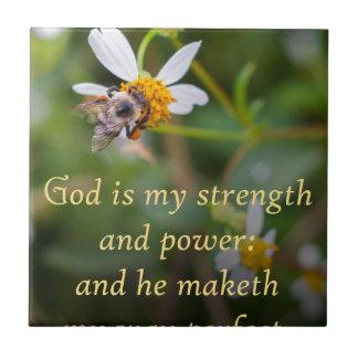 Dios es mi fuerza azulejo cuadrado pequeño