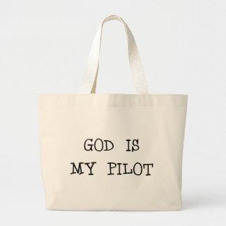 Dios es mi piloto bolsa tela grande