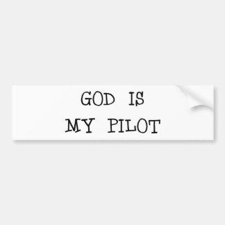 Dios es mi piloto etiqueta de parachoque