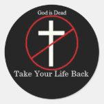 Dios es muerto pegatina redonda