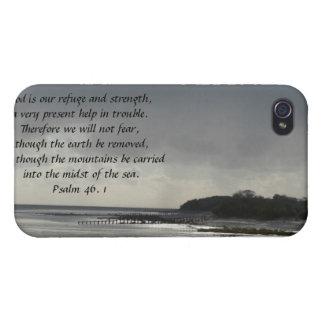 Dios es nuestro refugio y fuerza-Escritura/paisaje iPhone 4 Cárcasas