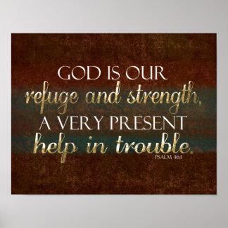 Dios es nuestro verso cristiano Brown/oro de la Poster