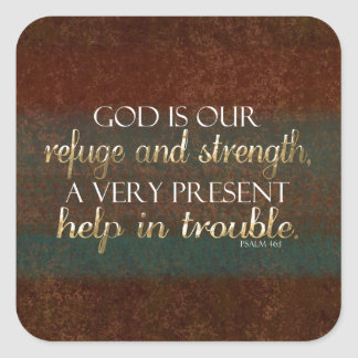 Dios es nuestro verso cristiano Brown/oro de la Pegatina Cuadradas